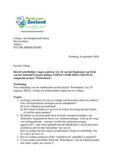 Art.44 vragen PVZ Waterdunen 08 09 2020
