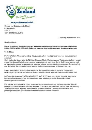 Art 44 vragen Fietsvoetveer 9 september