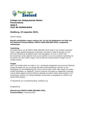 Art 44 vragen Renteswaps 19 augustus 2019
