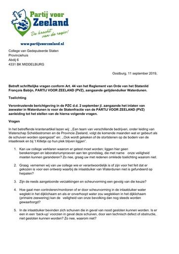 Art 44 vragen Getijdenduiker Waterdunen