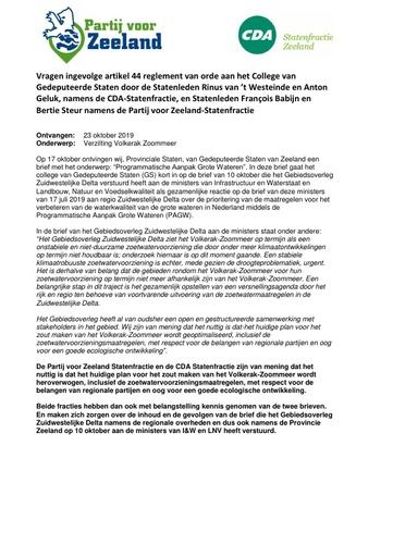 Vragen aan GS CDA en PvZ over Verzilting Volkerak Zoommeer oktober 2019