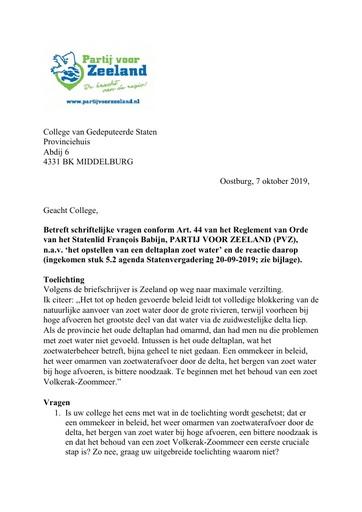 Art 44 vragen opstellen van een deltaplan zoet water en de reactie daarop