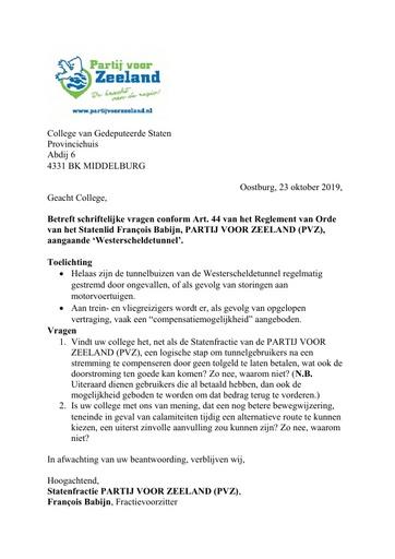 Art 44 vragen PVZ aangaande Westerscheldetunnel