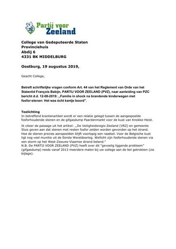 Art 44 vragen fosforstenen 19 augustus 2019