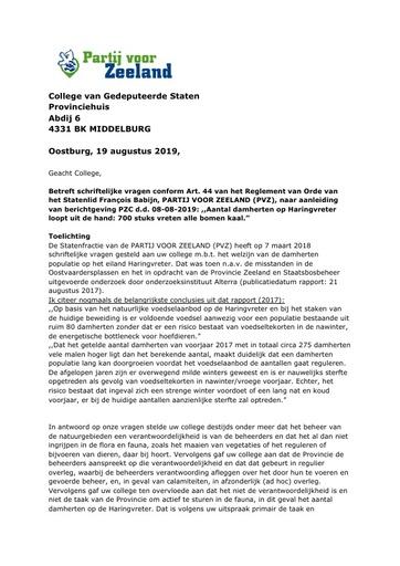Artikel 44 vragen damhertenpopulatie Haringvreter