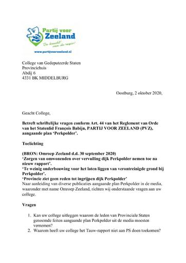 Art.44 vragen plan Perkpolder 02 oktober 2020