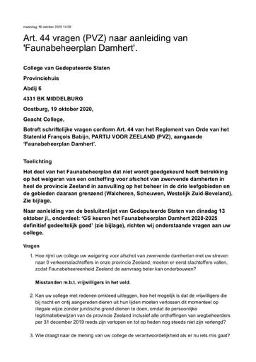 Art 44 vragen Faunabeheerplan Damhert 19 oktober 2020
