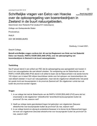 Vragen Eelco van Hoecke over opkoopregeling van boerenbedrijven in Zeeland in de buurt natuurgebieden