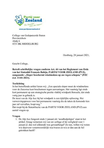 Vragen 28 01 2021 Sleper beschermt windmolens op zee tegen schepen