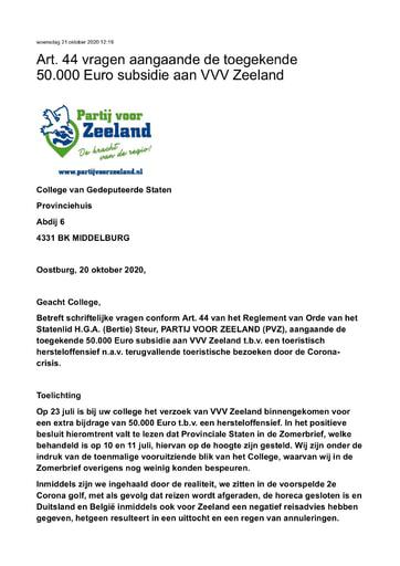Art  44 vragen aangaande de toegekende 50 000 Euro subsidie aan VVV Zeeland