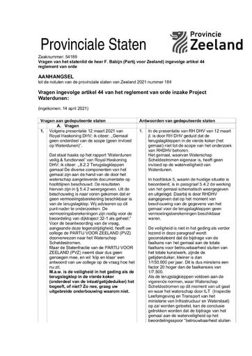 Antwoorden Art.44 vragen Partij voor Zeeland Waterdunen 12 mei 2021