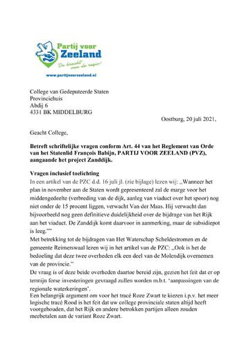 Art. 44 vragen (PVZ) aangaande project Zanddijk