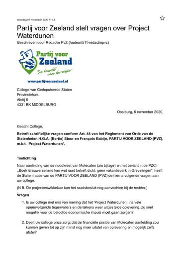 Art 44 vragen over Project Waterdunen 6 11 2020