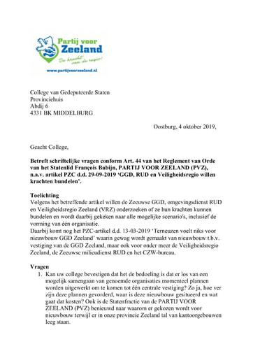 Art44 vragen PVZ GGD RUD Veiligheidsregio willen krachten bundelen 4oktober 2019