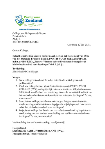 Art. 44 vragen Zeeuws-Vlaamse schooldirecteuren bezorgd over bibliotheekaanbod voor leerlingen