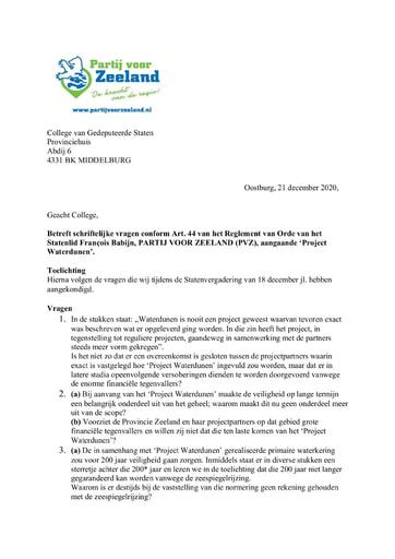 Art. 44 vragen Project Waterdunen 21 december 2020