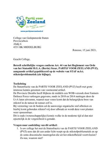 Vragen van de Partij voor Zeeland m.b.t. de stikstofproblematiek 15 juni 2021