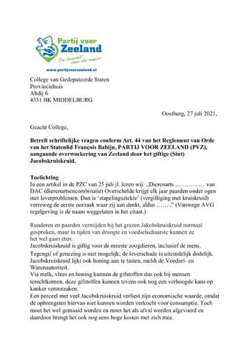 Art. 44 vragen (PVZ) aangaande giftig Jacobskruiskruid