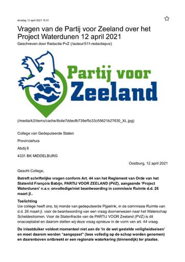 Vragen van de Partij voor Zeeland over het Project Waterdunen 12 april 2021